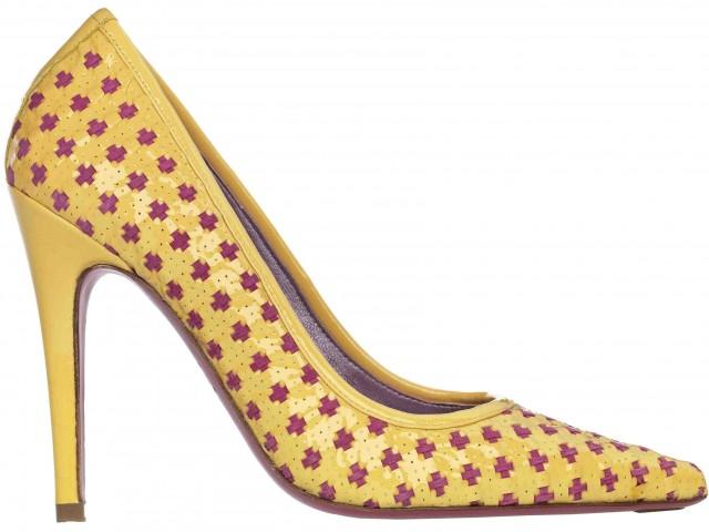 Heidi mustard patent fuchsia suede interweave